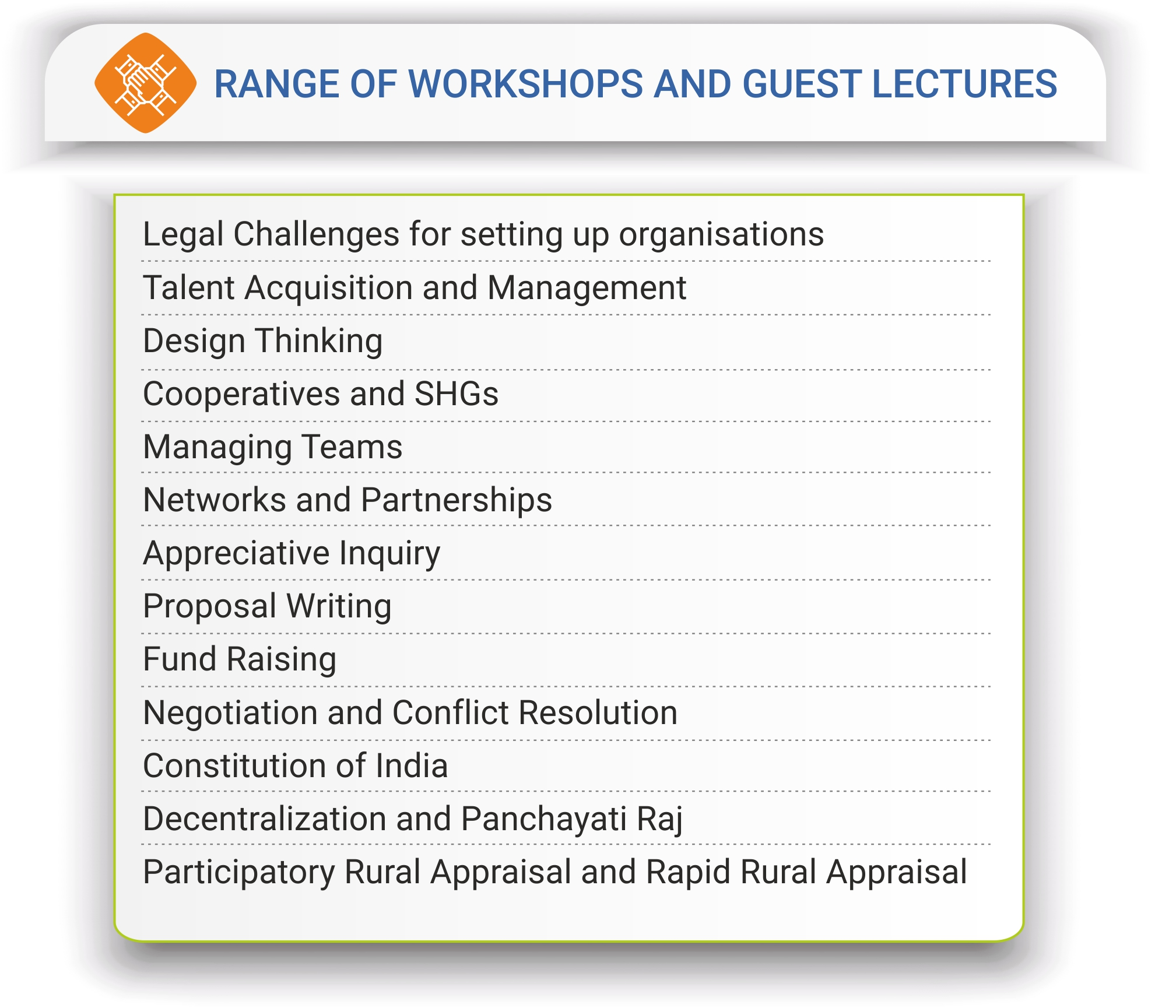 Range of Workshops and Guest lectures